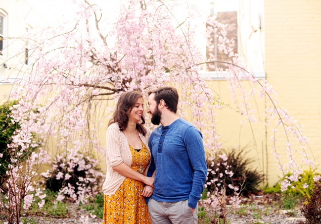 cherry blossoms engagement session
