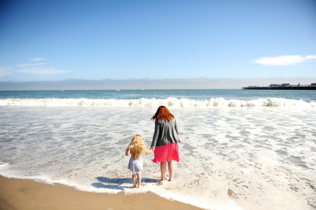 mother and daughter on santa cruz beach